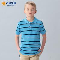 英格里奥童装男童春装新款短袖T恤中大童儿童T恤条纹polo衫LLB9419