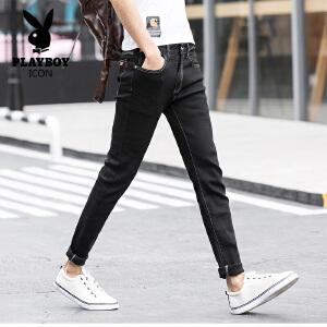 花花公子 2017春季新品男士黑色牛仔裤修身百搭小脚牛仔长裤子