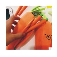 陆捌壹肆  包邮 可爱卡通创意立体胡萝卜表情笔袋日系学生个性文具袋 学生礼物 笔盒 文具袋(一个装)