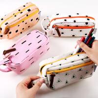 韩国版几何帆布简约笔袋学生可爱大容量多层功能文具袋男女生