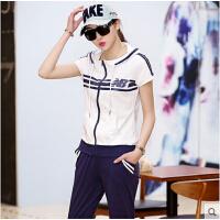 休闲运动套装女夏运动服潮 户外 新款两件套韩版时尚短袖七分裤