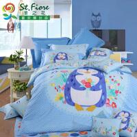 富安娜家纺 卡通四件套学生圣之花全棉纯棉儿童宿舍床上用品哈尼的表白