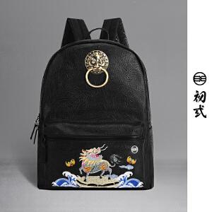 初�q中国风潮牌复古狮子头书包神兽火麒麟刺绣双肩背包男女41125