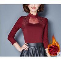 秋冬修身小衫高领大码网纱上衣加绒加厚蕾丝打底衫女长袖