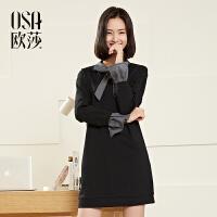 欧莎2017春女春季新款女装喇叭袖时尚黑色显瘦百搭连衣裙A13024