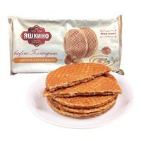 俄罗斯进口零食 拉丝华夫饼干 290g袋KDV蜂蜜炼乳味瓦夫饼