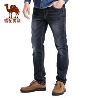 骆驼男装 秋季新款时尚黑色合体直筒商务休闲牛仔裤长裤子男