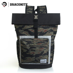 DRACONITE潮牌双肩包男个性复古迷彩撞色休闲书包电脑包背包11673