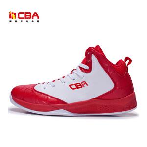 CBA正品篮球鞋男中帮球鞋黑红战靴防滑耐磨减震运动鞋外场鞋