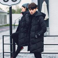 冬季男装棉服韩版港风男士长款棉衣潮男加厚保暖中长款棉衣