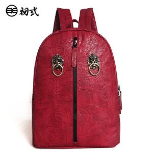 初弎中国风潮牌复古原创意狮子头男女旅行背包电脑双肩书包