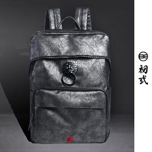 初�q中国风潮牌书包复古狮子头包盖式银灰色男女双肩背包41083