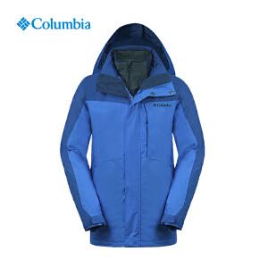 【领卷满400减100】Columbia哥伦比亚男士秋冬防水透气抓绒保暖三合一冲锋衣PM7787