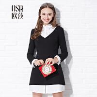 OSA欧莎2016冬季新款女装假两件黑色长袖显瘦收腰连衣裙C13178