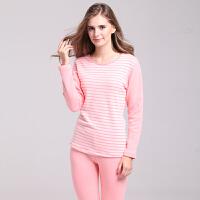 女士保暖内衣套装加厚加绒 时尚圆领条纹外穿秋衣秋裤 粉红 长袖 冬保暖套装女