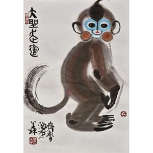 韩美林《猴》纸本镜心