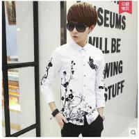 韩版印花白色衬衣修身男装潮日系青少年上衣服男士长袖衬衫