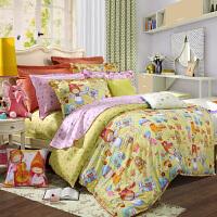 富安娜家纺 圣之花全棉缎纹四件套纯棉床品套件儿童卡通魔法旅行家