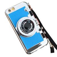 坚达 创意照相机手机壳  第二代硅胶全包挂脖防摔保护套 适用于 iPhone6s 保护壳 全屏覆盖钢化膜 保护膜 钢化玻璃膜