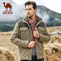 骆驼男装 男士双层领直筒棉衣纯色加厚棉衣 男