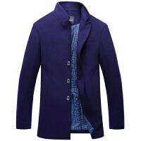 伯思凯秋冬新款羊毛呢大衣男中长款单排扣翻领呢子大衣男外套风衣