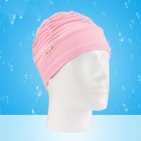儿童新款纯色褶皱工艺针织泳帽女童长发大号女生游泳帽