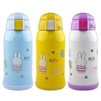米菲新品不锈钢双盖便捷防漏保温杯带吸管儿童水壶