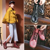 公猴新款皮靴马丁靴女短靴英伦风短筒欧美女靴子平跟平底潮鞋109