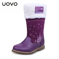 【满200减100】UOVO2017童鞋新款童靴冬季女童靴子儿童雪地靴中筒保暖女童雪地靴 安纳西
