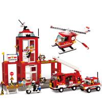 小鲁班益智积木拼插玩具 拼装玩具 拼插模型儿童救援消防车 消防中心B3100