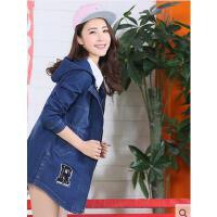户外休闲服  风衣女连帽学生装    韩版修身水洗牛仔外套