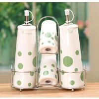 厨房用品 陶瓷调味瓶四件套 带不锈钢铁艺搁物架 颜色随机