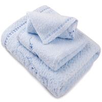 [当当自营] 三利 纯棉绣花小熊方巾毛巾浴巾 精装礼盒三件套 三色可选