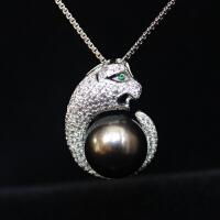 925银镀白金豹子头海水珍珠项链
