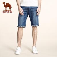 骆驼男装 夏季新款无弹棉质美式休闲牛仔裤短裤直筒五分裤男