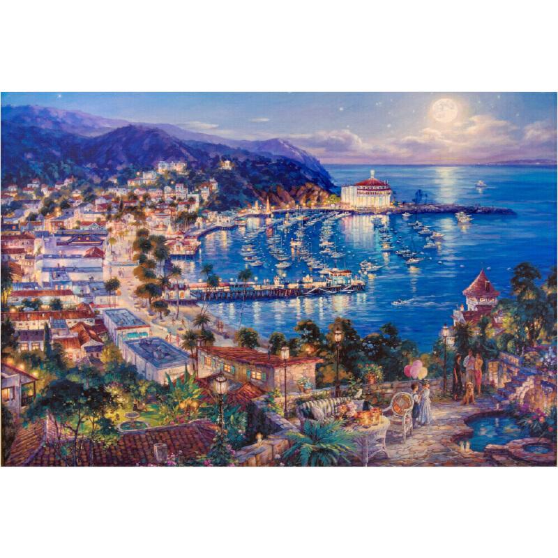 成人1000片木质拼图1500世界名画唯美风景油画 海湾小城