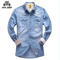 AFS JEEP战地吉普男士长袖衬衫春装新款 男装休闲宽松牛仔布外套 副
