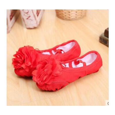 软底 猫爪鞋芭 蕾舞 鞋女花朵舞蹈鞋练功鞋儿童皮头带花舞蹈鞋_红色皮