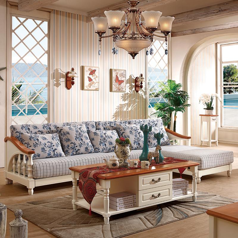 简迪 地中海实木沙发 美式乡村转角沙发 客厅组合沙发 现代简约布艺