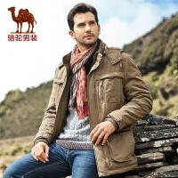 骆驼男装 冬款男士直筒立领拉链棉衣 男士中长款休闲服 潮
