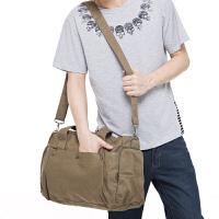 吉野2016新款韩版男包包帆布包手提包单肩包斜跨包男士休闲大包包运动包简约旅行包318D2