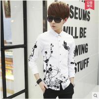 韩版男装潮印花白色衬衣修身日系青少年上衣服男士长袖衬衫