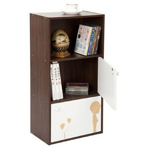 [当当自营]慧乐家 三层二门印花柜11035 胡桃木+白色 储物收纳柜子