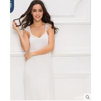大码显瘦纯色无袖吊带裙睡裙家居服 竹纤维睡衣女性感宽松