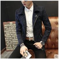 韩版时尚 男士格子风衣青年中长款呢子大衣男潮流男装韩版夹克外套