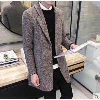 韩版时尚新款毛呢大衣男士中长款青年时尚翻领西装领修身保暖风衣外套