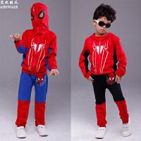 童装秋款蜘蛛侠套装儿童卫衣男童女童运动装拉链连帽卡通装三件套