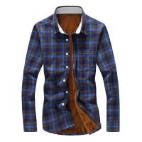 衬衫男 格子衬衣男款长袖修身厚款衬衫韩版格纹大码长袖衬衣加绒款休闲衬衫男