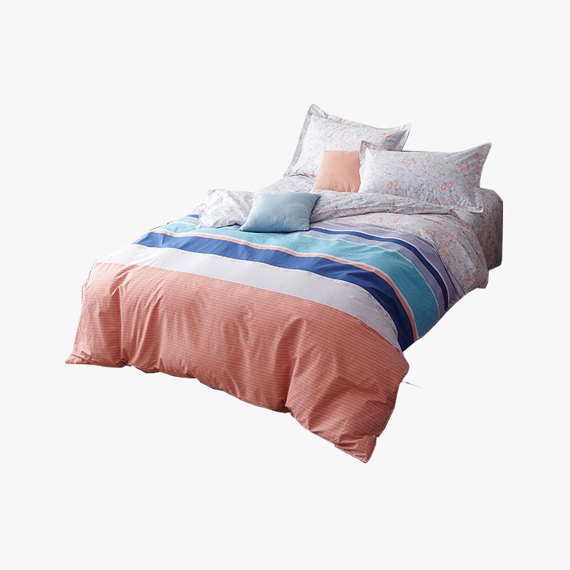 当当优品家纺 纯棉斜纹印花床品 双人床单四件套 你好色彩当当自营 133x72 高支高密 环保活性印染 不易褪色