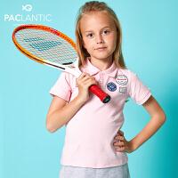 派克兰帝品牌童装  夏装女童POLO领短袖T恤 儿童T恤
